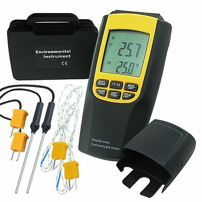 Digital  K / J Type Thermocouple Thermometer 4 Probes Temperature Meter Tester