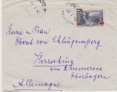 Syria-1939 12.50 P o/p in red on 7.50 P blue Beirut letter cover to Germany