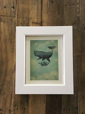 8x10 Whale Airship Hot Air Balloon Modern Home or Nursery White Framed Art