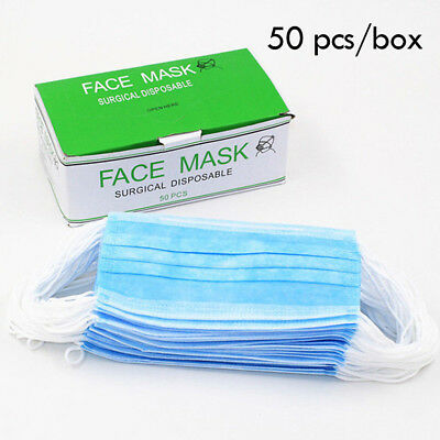 Disposable Mask 3-Ply Earloop Surgical Medical Face Mouth Masks Salon Use 50pcs