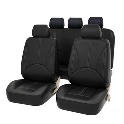 New 9pc PU Leather Car Seat Cover Full Set Front Rear Seat Cushion Mat Protector