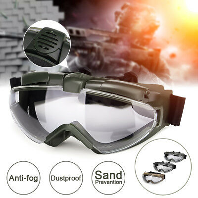 Tactical Military Anti-Fog Sandproof Windproof Safety Goggles Glasses w/ Fan AU