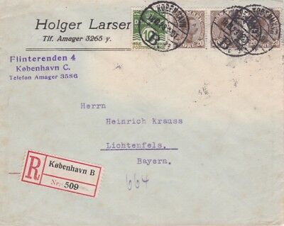 Denmark-1923 Postage paid 70 ore on Copenhagen B registered cover to Germany