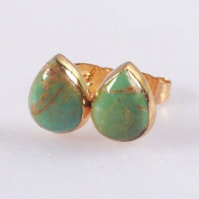 10x8mm Drop Natural Genuine Turquoise Stud Earrings Gold Plated B051508