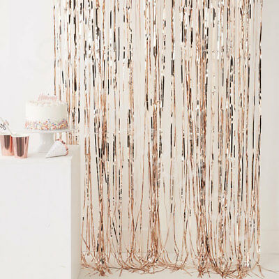 Rose Gold Metallic Foil Fringe Tinsel Door Curtain Birthday Wedding Party Decor