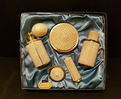 Vintage Antique Perfume And Make Up Kit - Simulated Pearl - NOS - New Old Stock