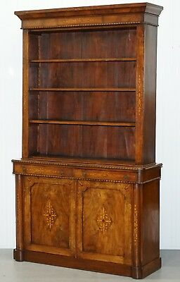 Lovely Pugin Victorian Rosewood Library Bookcase Cabinet Exquisite Walnut Inlay