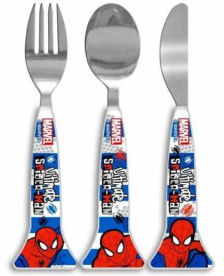 Marvel Ultimate Spiderman Blue 3PC Cutlery Set For Kids Dishwasher Safe
