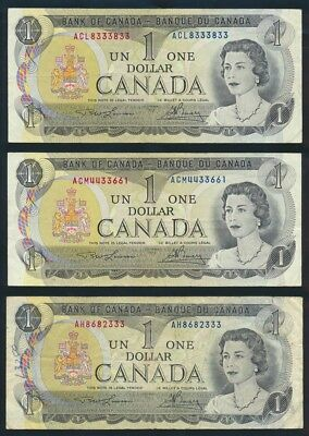 "Canada: 1973 $1 QEII Sig. Lawson-Bouey ""LOT 3 NOTES WITH LUCKY NOS"". Pick 85a"