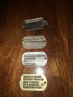 Vintage WW Military Dog Tags Unnotched Notched LOT 1 - 4 TAGS #0267