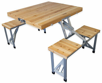 Andes Wooden Folding Portable Camping/Picnic Outdoor Table & Stool Chair Set