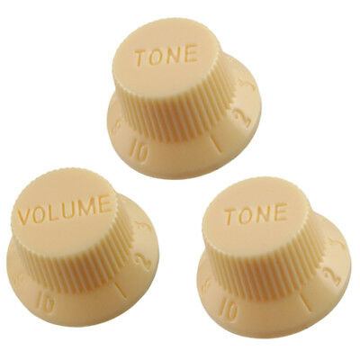 3 x Cream Electric Guitar Control Knobs Volume & Tone Fit Strat Stratocaster
