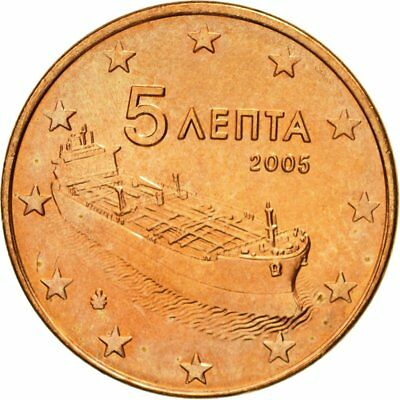 [#580675] Greece, 5 Euro Cent, 2005, MS(63), Copper Plated Steel, KM:183