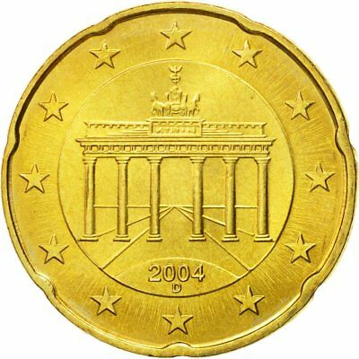 [#580520] GERMANY - FEDERAL REPUBLIC, 20 Euro Cent, 2004, MS(63), Brass, KM:211