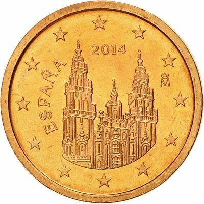 [#580392] Spain, 2 Euro Cent, 2014, MS(65-70), Copper Plated Steel