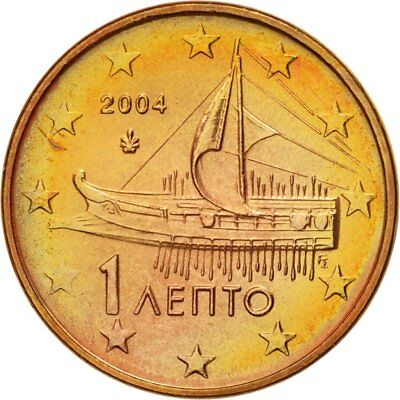 [#580595] Greece, Euro Cent, 2004, MS(63), Copper Plated Steel, KM:181