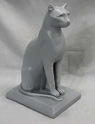 Vtg Handcrafted Art Clay Pottery Sitting Grey Cat Figurine Sculpture Statue