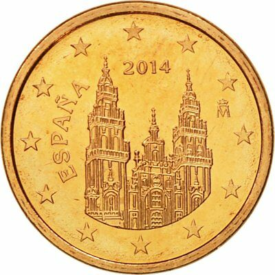 [#580400] Spain, Euro Cent, 2014, MS(65-70), Copper Plated Steel