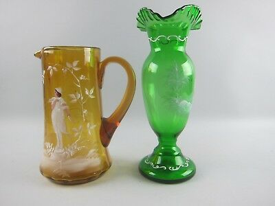 Antique Glass Mary Gregory Green Vase and Orange Pitcher White and Multi Color