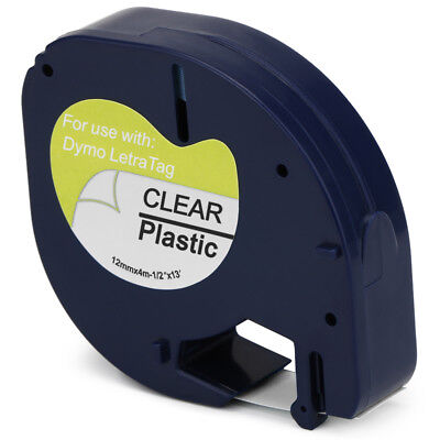 91331  Label Tape Compatible for DYMO Letratag 91331 12mm x 4m Black on White