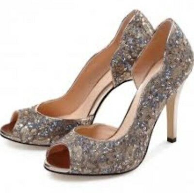 'Eve' Special Occasion Shoes Size 6/39 Champagne Glitter Lace by Paradox Pink