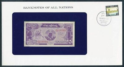 Suuudan: 1987 25 Piastres Banknote & Stamp Cover, Banknotes Of All Nations