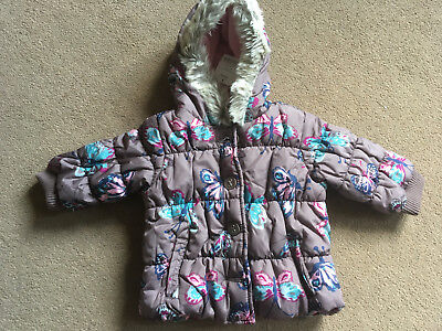 BNWT NEXT Baby Girls Mink  Brown Butterfly Padded Hooded Coat 9-12 Months