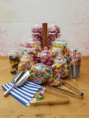 10 Jar Large Sweet Candy Buffet Kit Set 10 Jars - 3 Tongs/2 Scoops/Paper Bags