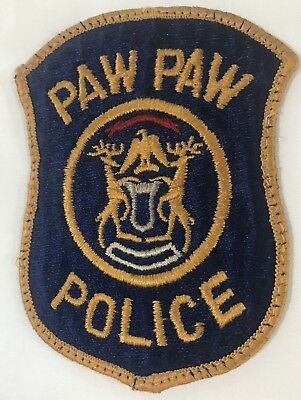 Vintage Paw Paw Police Department Michigan Shoulder Patch PD Used Good