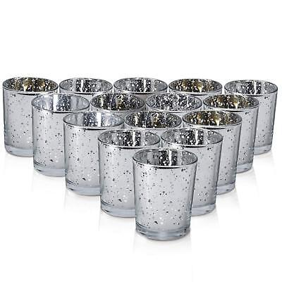 Silver Mercury Votive Candle Holder Set of 15 - Made of Mercury Glass with a