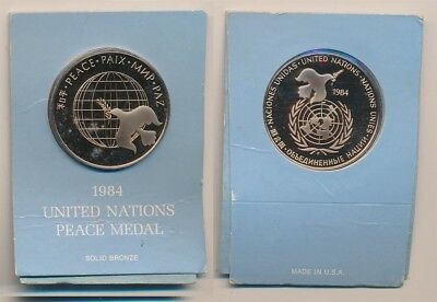 United States: United Nations 1984 Peace Proof Medal, Bronze 38mm Carded