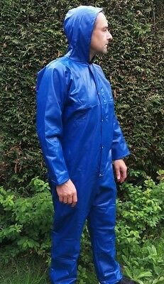 DARTEX WATERPROOF PU COVERALL STRONG FLEXIBLE RAIN SUIT BOILERSUIT HOODED UKmade