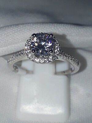 925 Sterling Silver Stimulated Diamond Engagement Rhodium Plated Ring Uk J Usa5