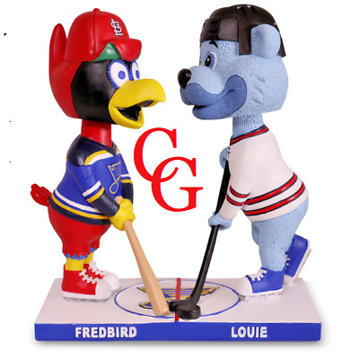 St Louis Cardinals Blues Bobblehead Dual  Fredbird & Louie Theme Mascot 9/21 sga