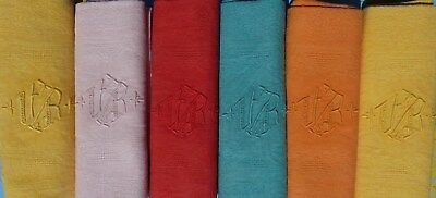 Set 6 Napkins Antique French Monogramm V R Hand Made Ho La La