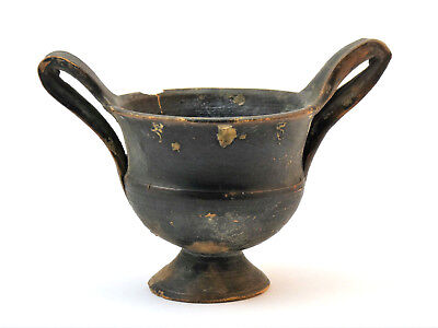 c.500 BC, GREECE, GREEK ANTIQUITIES, BLACK POTTERY KANTHAROS TWIN HANDLED CUP