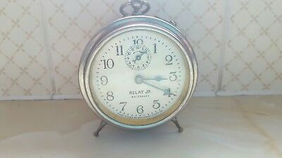 Rare Antique 1918 nickle played  Waterbury Carriage Clock W/ Bell Alarm RELAY JR