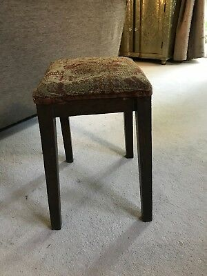 Vintage/Antique Embroidered seat, tall piano stool, boudoir stool or foot stool