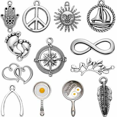5pcs Tibetan Silver Sun Hand 8 Heart Charms Pendant Findings Bead Jewelry Making