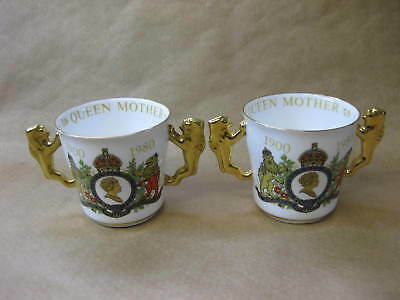 Queen Elizabeth Queen Mother ~2 x 1980 Commemorative Loving Cups ~ Paragon China