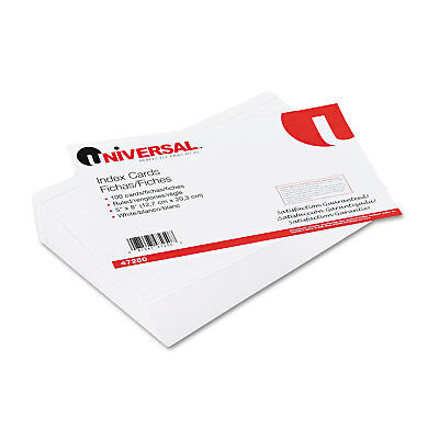 UNIVERSAL Ruled Index Cards 5 x 8 White 100/Pack 47250