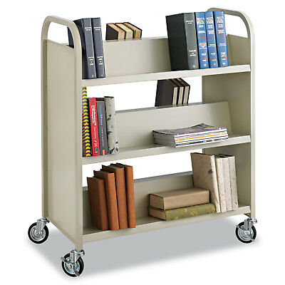 Safco Steel Book Cart Six-Shelf 36w x 18-1/2d x 43-1/2h Sand 5357SA