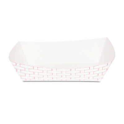 Boardwalk Paper Food Baskets 5lb Capacity Red/White 500/Carton 30LAG500