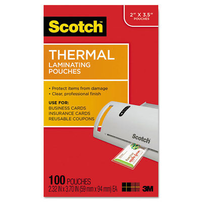 Scotch Business Card Size Thermal Laminating Pouches 5 mil 3 3/4 x 2 3/8 100