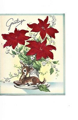 UNUSED Vintage Christmas Card: 1940s or 1950s. Flocked poinsettias with a deer