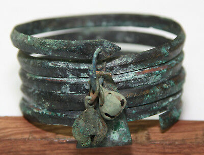 Ancient Viking bronze bracelet snake type. with pendants  weight - 93g
