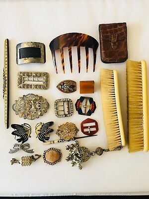 Antique And Vintage Collection Of Buckles Vanity Set Hair Comb And Miscellanea