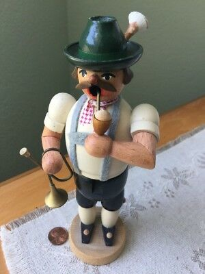 Vintage Erzgebirge Rauchman-Oktoberfest Horn Player w/Pipe German Incense Burner