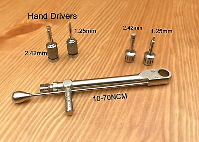 Dental implant Torque Wrench Ratchet 10-70 Ncm abutment Hex + Hand Drivers