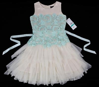 CHANTILLY PLACE Floral Lace Tiered Cascading Tulle Dress Formal ~ Size 16 NWT aa